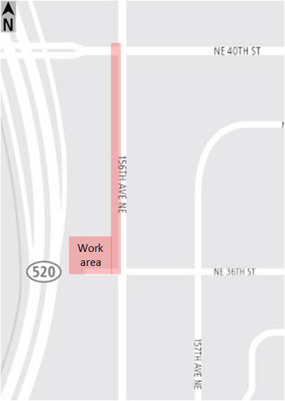 Map of 156th Avenue Northeast closure.