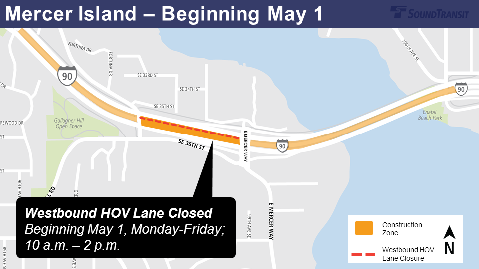 Map of westbound HOV lane closures for rail delivery.