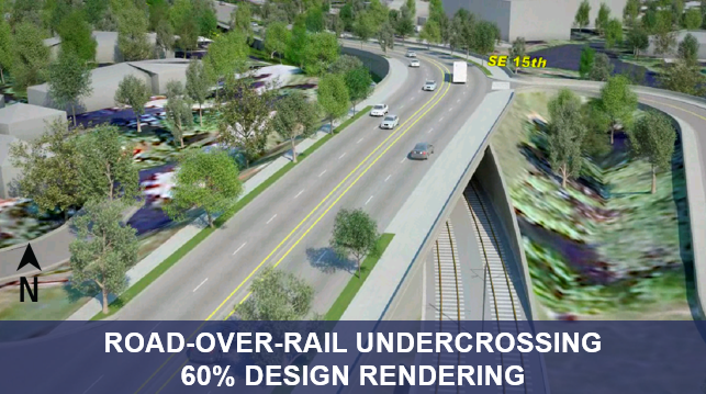 Road-over-rail undercrossing 60 percent design rendering.