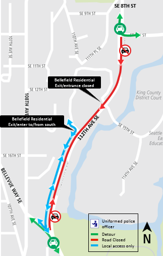 Map of closure for 112th Avenue Southeast for weekend of Sept. 29, 2018.