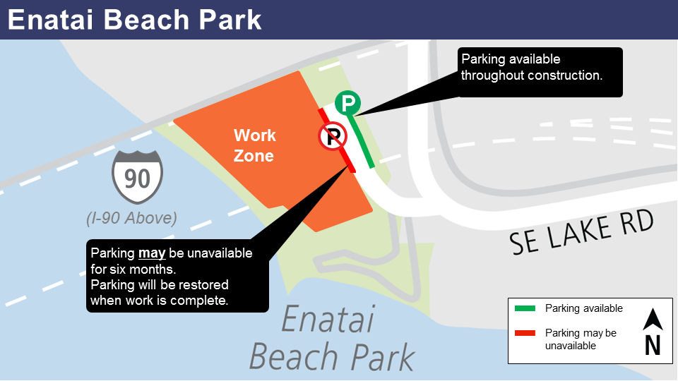 Map of construction work at Enatai Beach.