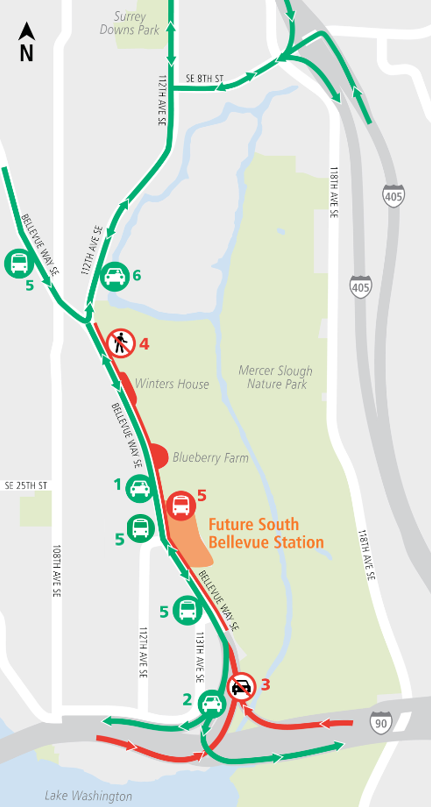 Map of ramp closures off I-90 to Bellevue Way Southeast.