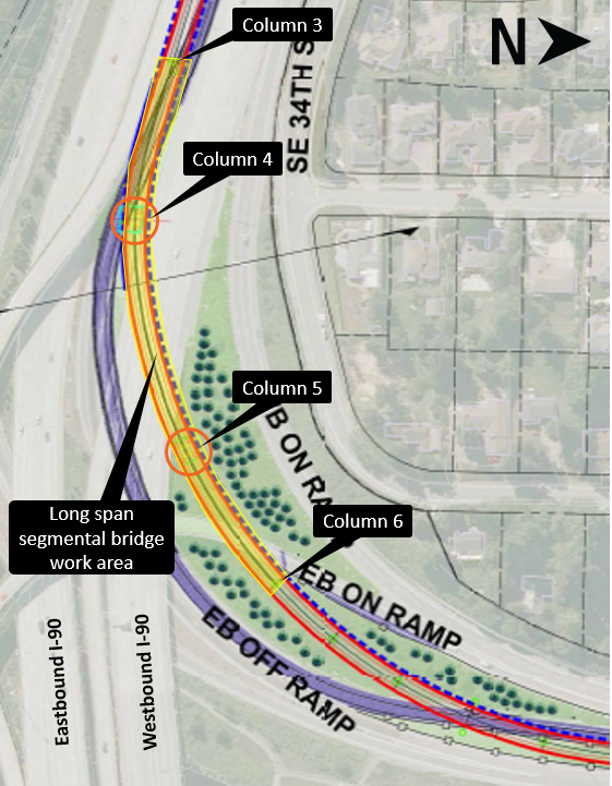 Long span aerial guideway construction map.