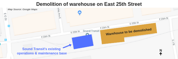 Map showing location of warehouse demolition in Tacoma.