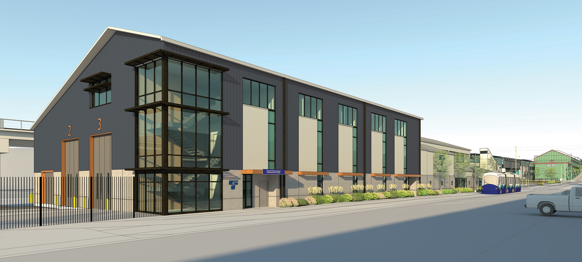 Artist render of future Operations and Maintenance Facility in Tacoma.