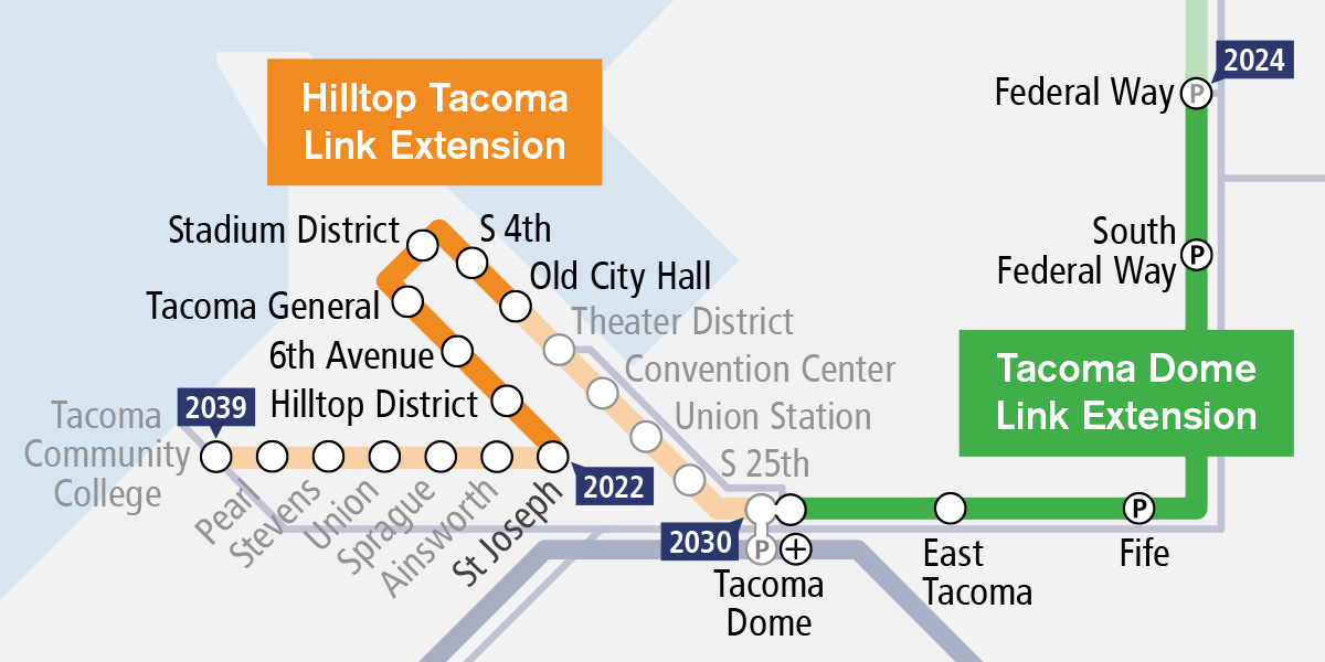 Map of the Hilltop Tacoma Link Extension route.