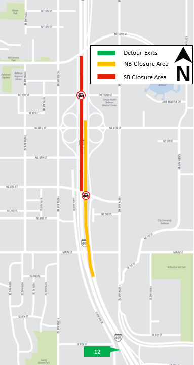 Map of I-405 closures Jan. 8-9, 2018
