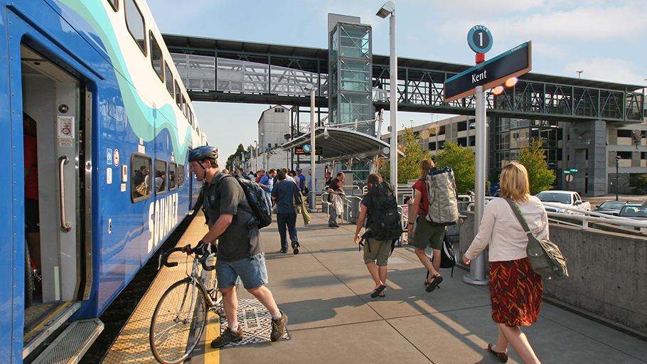 Passengers board Sounder at the Kent Station.