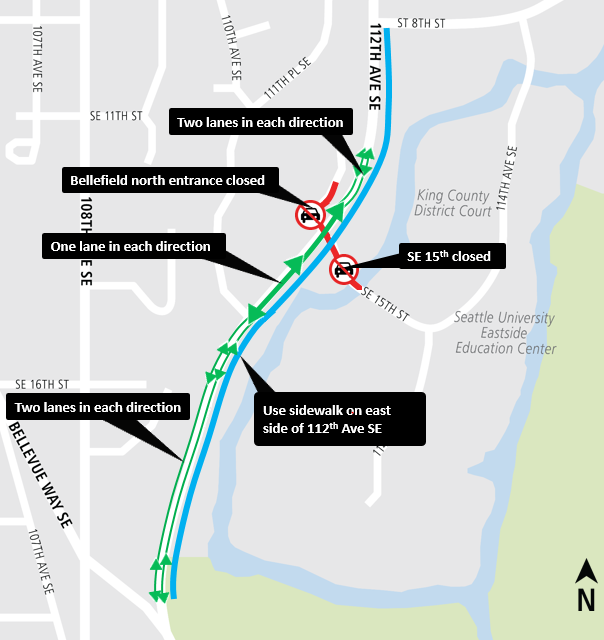 Map of 112th Ave SE temporary bypass August 2018