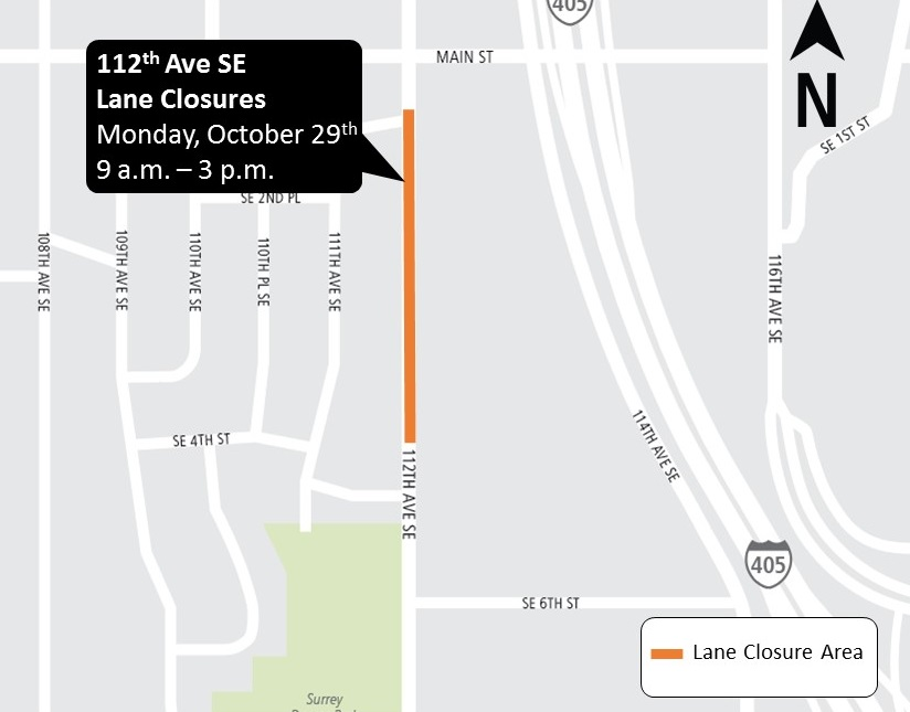 Map of 112th Ave SE lane closure area October 2018