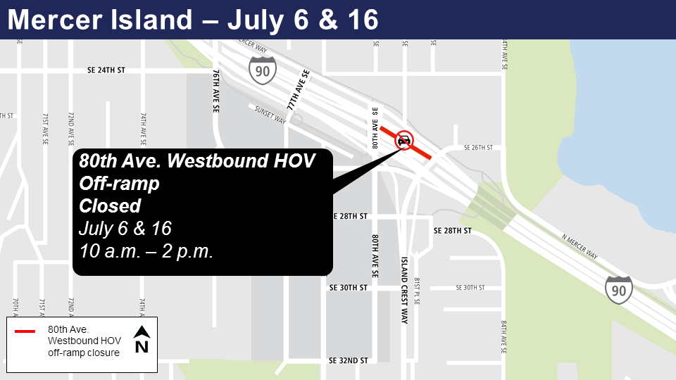 Map of closed 80th Avenue ramp.