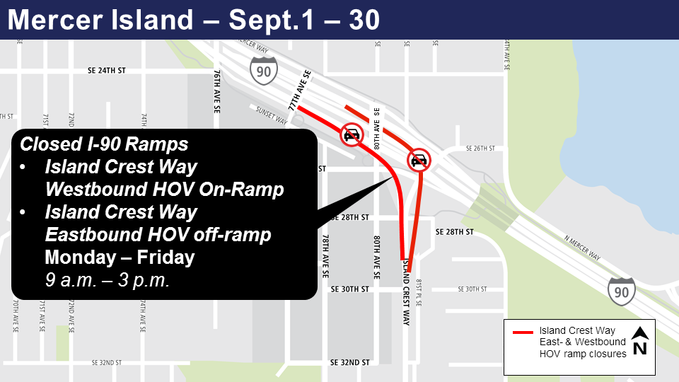 Map of I-90 ramp closures on Mercer Island in September.