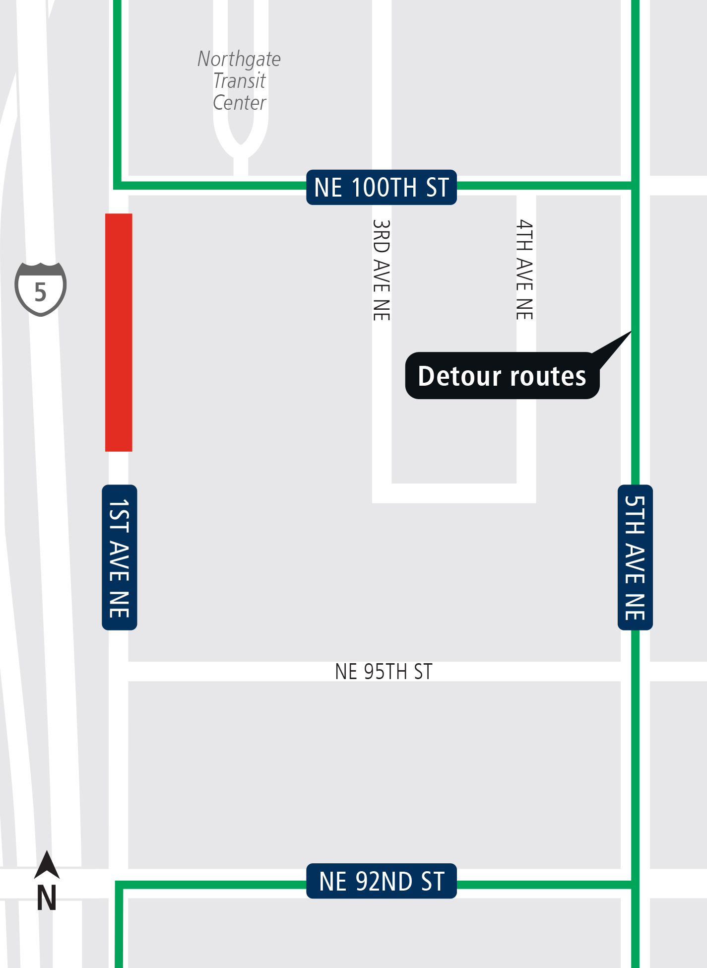 Map of 1st Ave Northeast street closure.