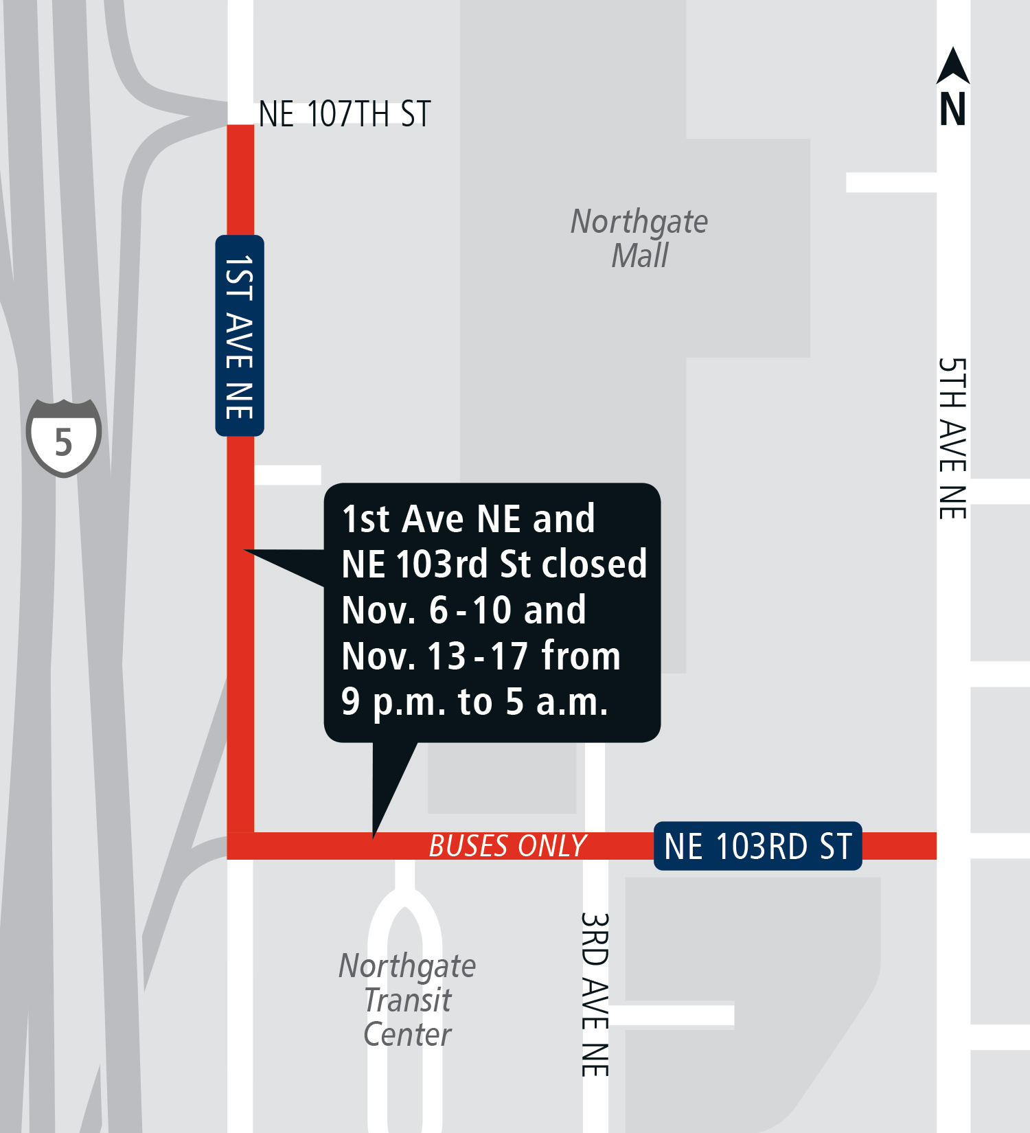 Map of 1st Avenue Northeast Street closure.
