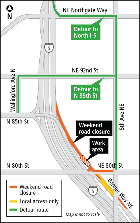 MAP: Access to northbound I-5 on-ramp and N 85th Street at Banner Way NE and NE 80th Street will be CLOSED Friday, Feb. 24 at 8 p.m. to Sunday, Feb. 26 at 7 p.m.