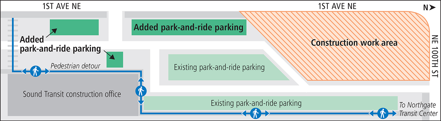 Northgate Park and Ride Interim Lot B parking phase 2 map