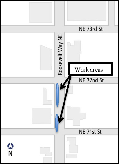 Map illustrating lane closures between NE 72nd St and NE 71st St.