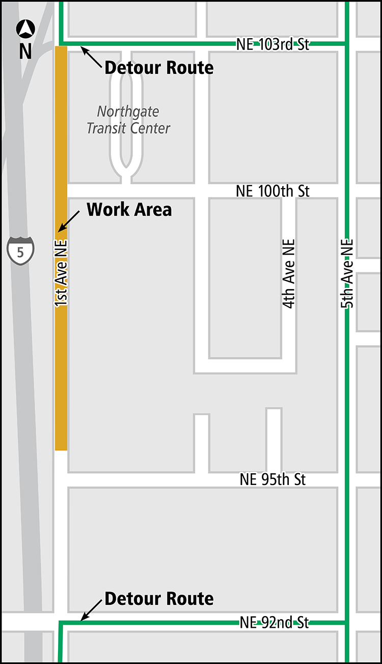 Map of lane closures on 1st Ave NE in Northgate.