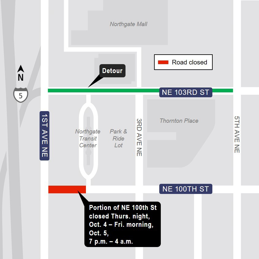 Detour map for 100th Street Northeast closure in Northgate, Oct. 4 and 5.