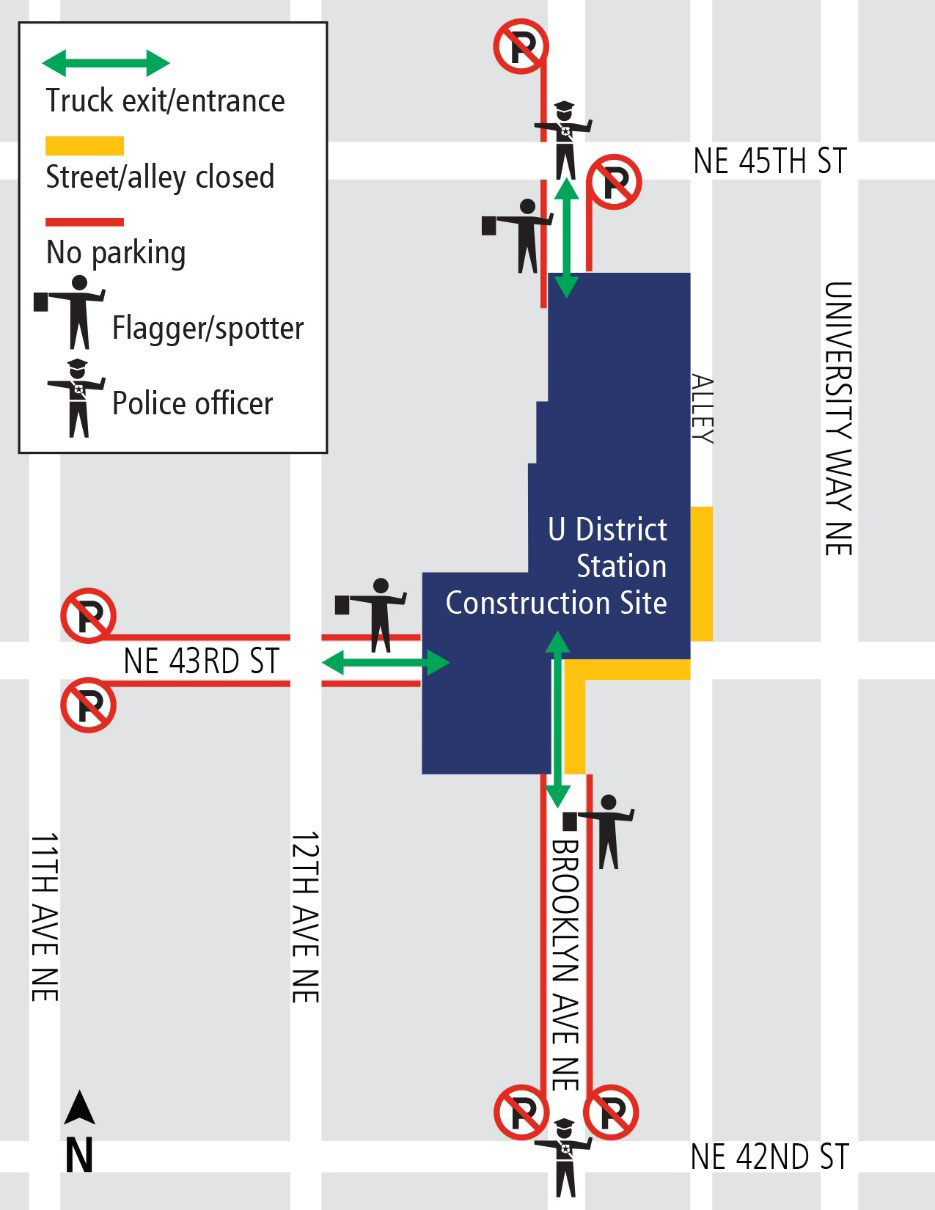 Map of traffic impacts for concrete pour at U District Station.