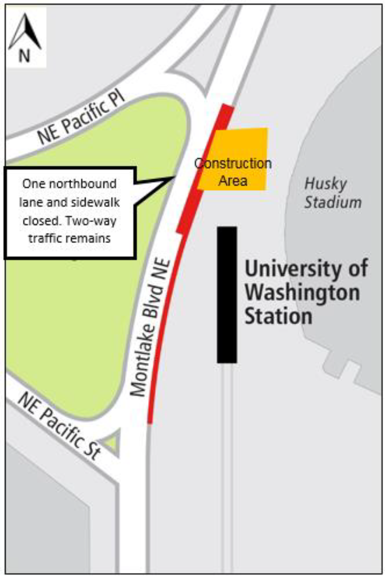 Map showing lane and sidewalk closures on Montlake Boulevard Northeast