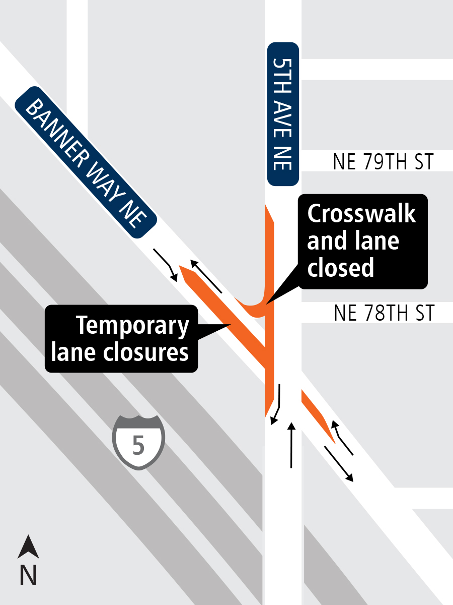 Map of temporary lane closures in Northgate.