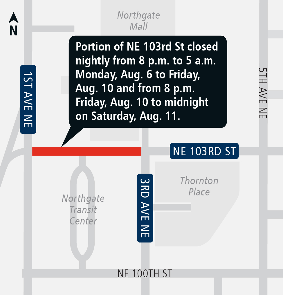 Northeast 103rd Street closure in Northgate map.
