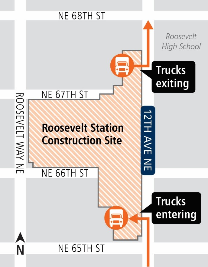 Map of truck paths for Roosevelt Station concrete pour.