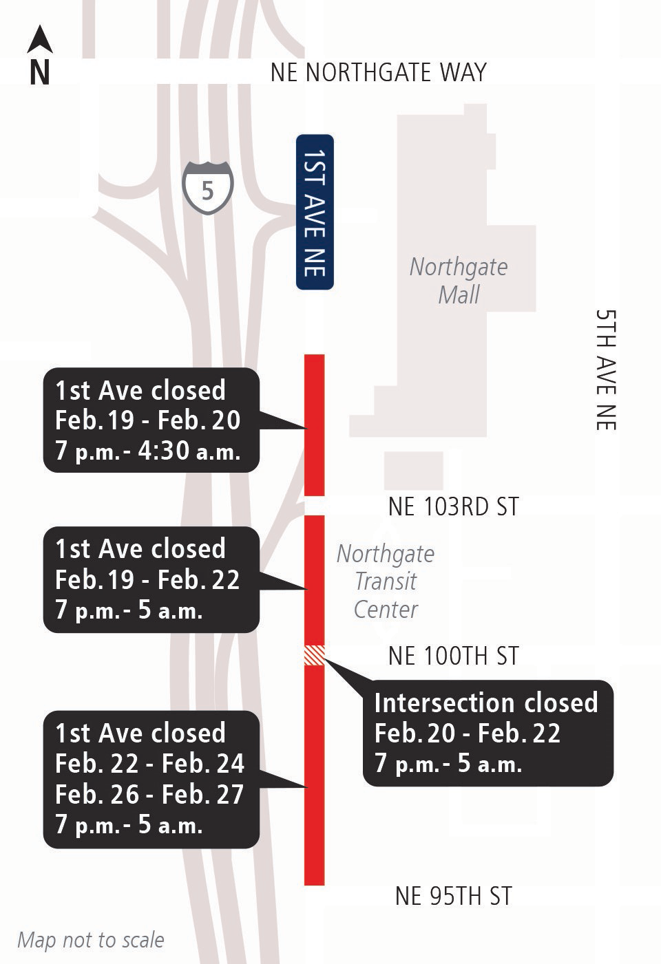 Map of street closures in Northgate.