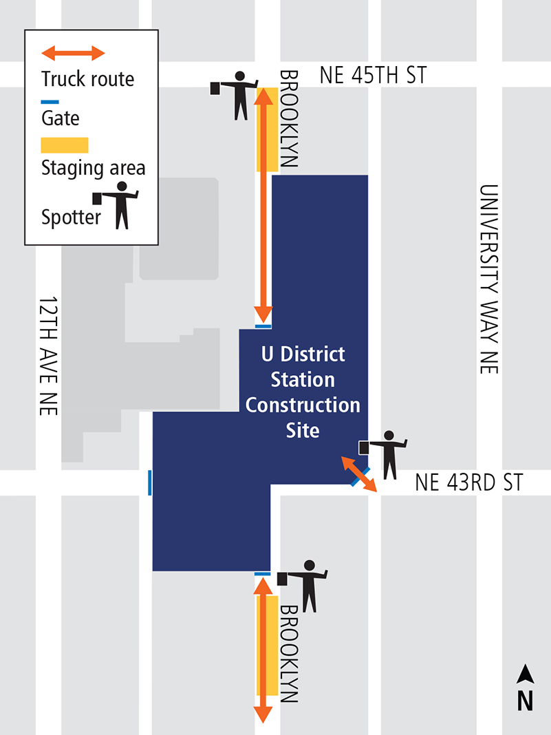 Map of concrete pour trucks entering and exiting construction site at U District Station.