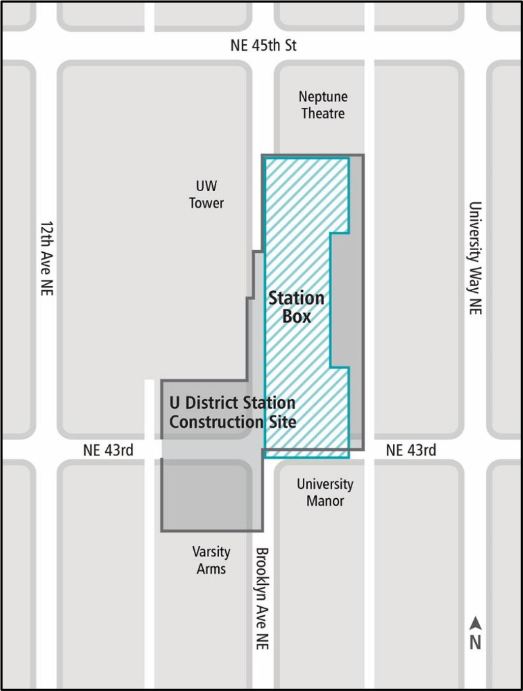 Map of construction around future University District station.