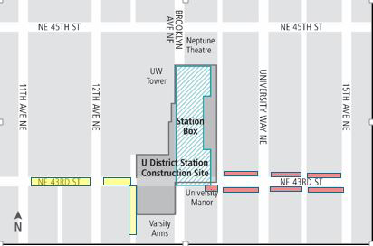 Map of University District Station construction.