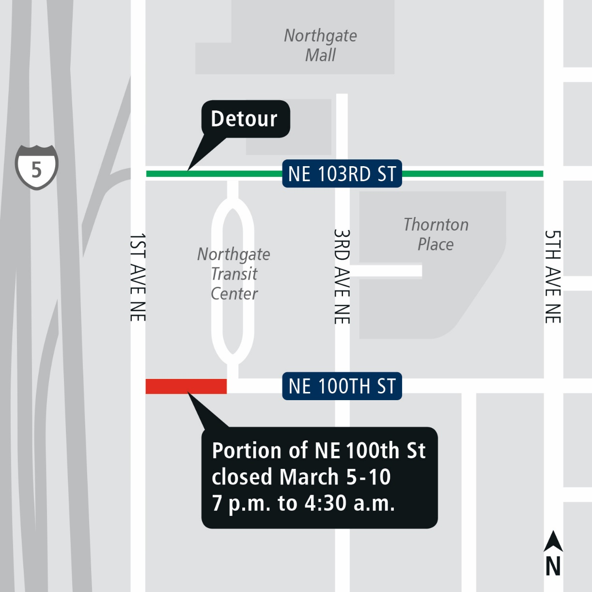Map of street closures and detours in Northgate.