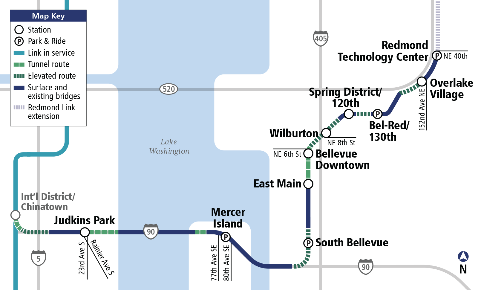 Map of East Link Extension station locations