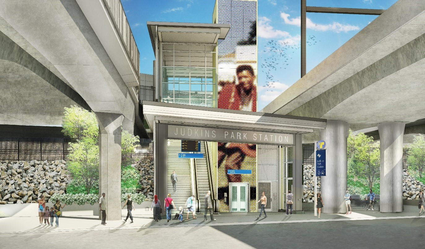 Rendering of the future station entrance on the eastern side of Rainier Avenue.