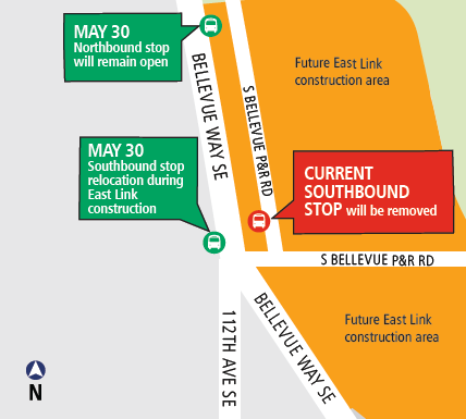 Map of South Bellevue construction May 2017