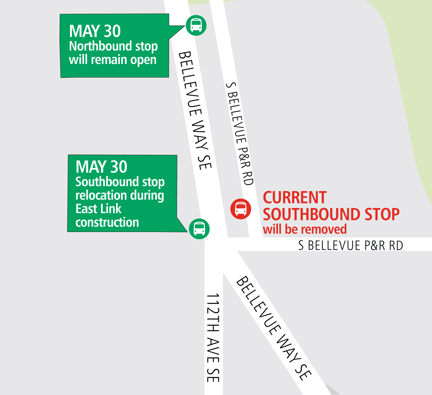 South Bellevue Park-and-Ride closure map