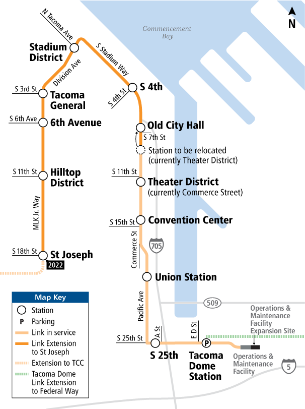 Tacoma Link extension project map.