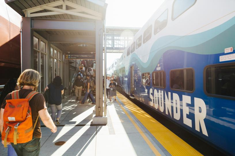 Passengers prepare to board a Sounder train at the Mukilteo Sounder Station.