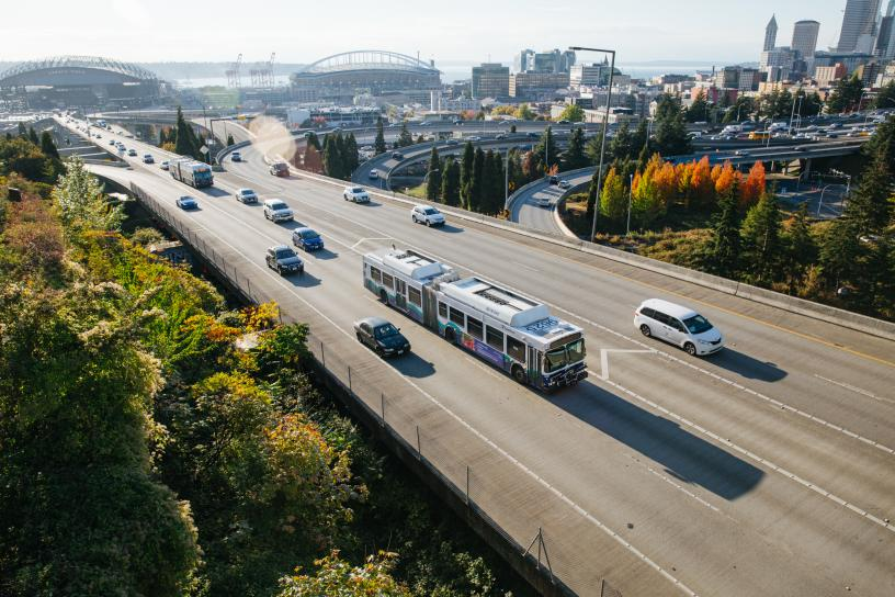 Sound Transit express bus heads east on I-90 from downtown Seattle.