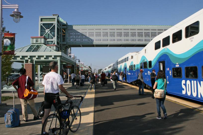 A view from the platform as passengers disembark from a Sounder train at the Auburn Station.