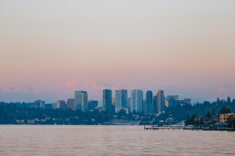 Bellevue skyline from Lake Washington point of view