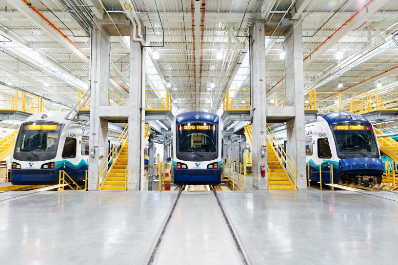 Link light rail vehicles ready for maintenance in the Operations and Maintenance Facility in Seattle.