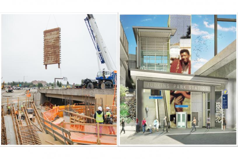 Composite image. Crewmembers remove wood falsework from the concrete elevator shaft at the entrance at the east side of Rainier Avenue South (left). A rendering of the completed entrance when trains roll in 2023 (right).