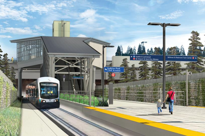 This rendering shows the completed station platform looking east toward 23rd Avenue.