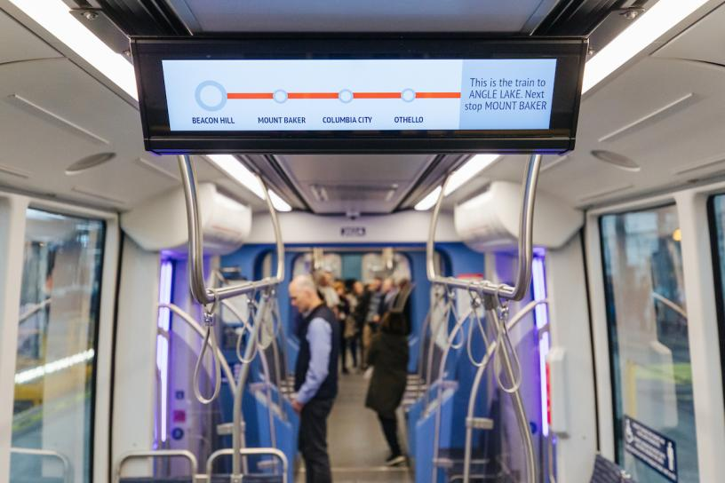The new Link light rail vehicles will feature new digital signs