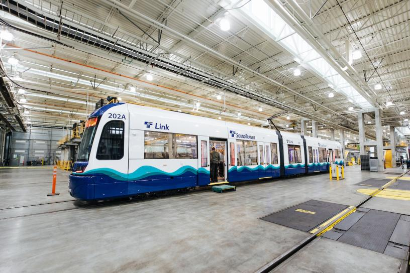 One of 152 new Link light rail vehicles to be delivered to Seattle.