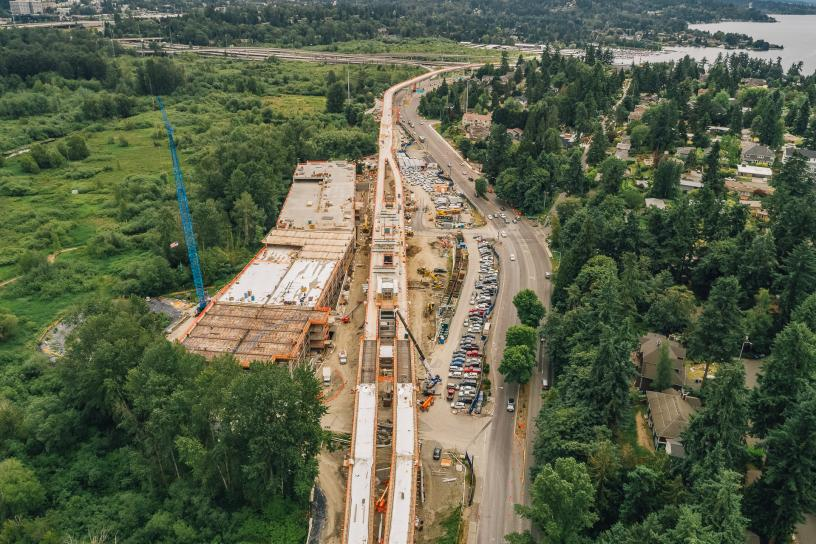 Aerial view of the future South Bellevue Station.