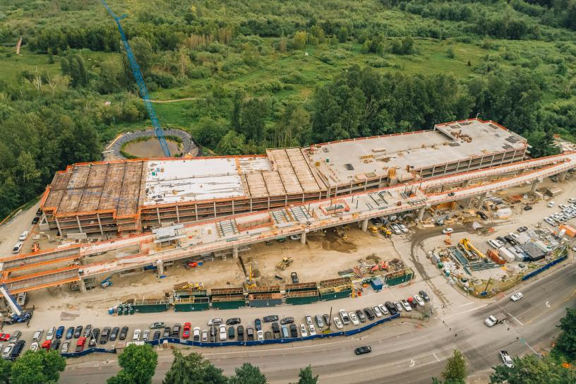 Aerial view of the future South Bellevue parking garage.