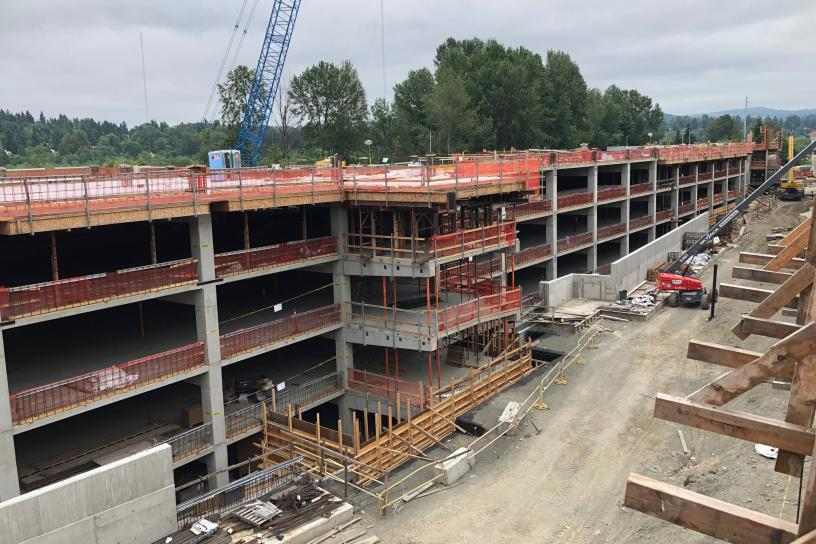 A close up view of progress on the 1,500 stall South Bellevue Station parking garage.